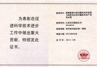 国家科学技术一等奖证书